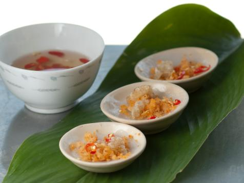 Steamed Rice Flour Cakes with Dried Shrimp: Banh Beo