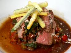 Cooking Channel serves up this Hay-Roasted Leg of Lamb with Ratatouille and Parmesan Zucchini Fries recipe  plus many other recipes at CookingChannelTV.com