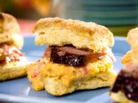Mustard Glazed Baked Ham and Pimento Cheese Biscuits