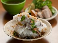 Handmade Rice Noodles Filled With Pork and Wood Ear Mushrooms: Banh Cuon Nong