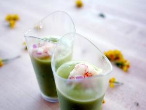 Chilled Avocado Soup with Lime Marinated Shrimp