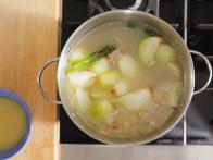 Simmer Vegetables and Stock Skimming Occasionally