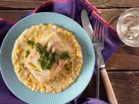 Pan Seared Pacific Cod with Cilantro Vinaigrette and Creamed Corn