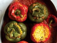 Bell Peppers Stuffed with Rice in Tomato Sauce (Pimientos Rellenos de Arroz con Salsa de Tomates)
