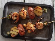 Cooking Channel serves up this Spicy Cajun Skewers with Spicy Buffalo Dipping Sauce recipe  plus many other recipes at CookingChannelTV.com