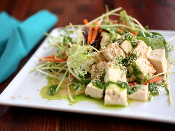 Tofu Salad with Chive Ginger Oil
