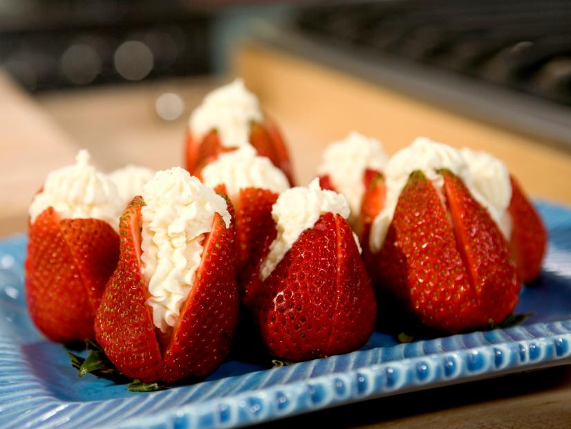 Strawberries Filled With Clotted Cream Recipe Bobby Flay Food Network