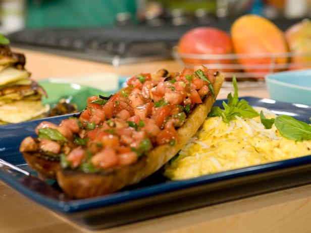 Soft Scrambled Eggs with Romano and Black Pepper with Tomato Bruschetta