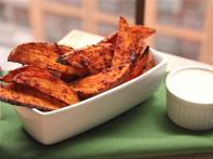 Spicy Sweet Potato Wedges with Maple Dipping Sauce
