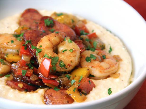 Spicy Shrimp and Andouille Sausage over Grits