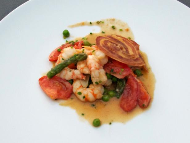 Sauteed Spot Prawns with Summer Vegetables
