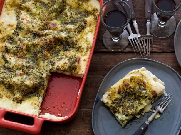 Pesto lasagne recipes cooking channel recipe debi mazar and pesto lasagne forumfinder Images