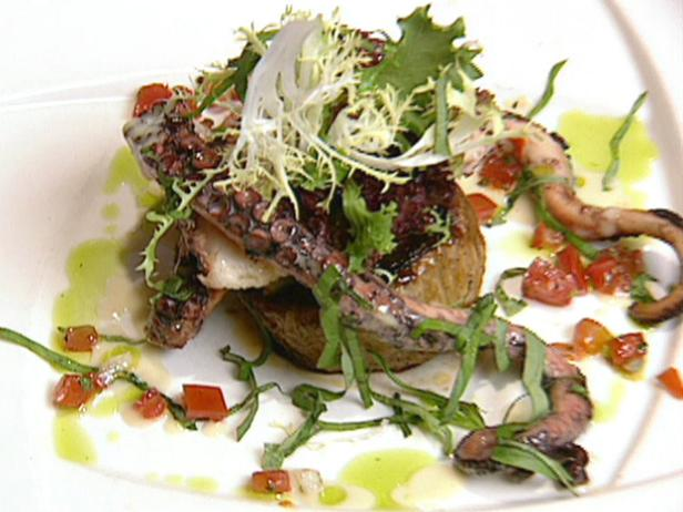 Warm Octopus and Sweet Onion Salad with Fresh Basil and Lemon Vinaigrette