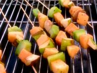 Seasonal Fruit and Melon Kabobs with Fiery Chile Sauce