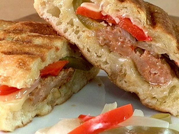 Hot Italian Sausage Panini with Pickled Peppers