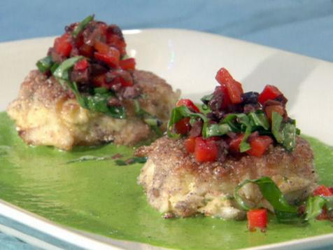 Blue Corn Crab Cakes with Black Olive-Red Pepper Relish and Basil Vinaigrette
