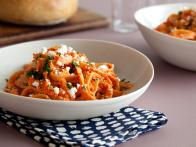 Fettuccine with Creamy Red Pepper-Feta Sauce