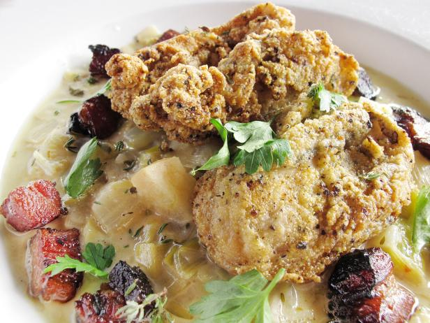 Crispy Fried Oysters with Smoky Bacon and Apple Ragout