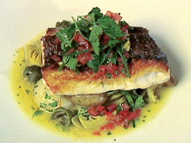 Crisp Red Snapper with Ragout of Potatoes, Onions, Artichokes, and Green Olives with Sauce Vierge
