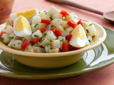 Cooking Channel serves up this Potato-Egg Salad (Ensalada de Papas y Huevos) recipe from Daisy Martinez plus many other recipes at CookingChannelTV.com