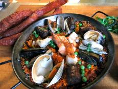Cooking Channel serves up this Seafood Paella Marinara recipe  plus many other recipes at CookingChannelTV.com