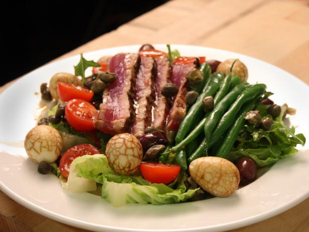 Eastern Style Tuna Nicoise Salad with Tea Marbled Eggs and Wasabi Vinaigrette