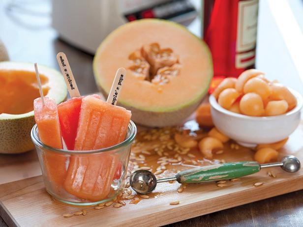 Cantaloupe and Campari Pops