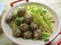Lemongrass-Coconut Noodles with Spicy Chinese Meatballs