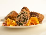 Spinach Stuffed Braciole in a Sunday Sauce with Pappardelle