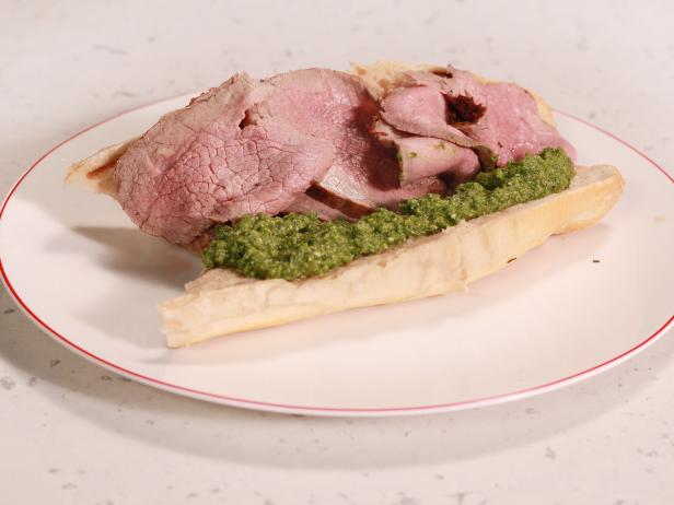 Roast Beef French Dip with Green Pea Pesto