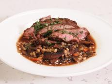 Cooking Channel serves up this Sliced Steak and Mushroom Barley Soup recipe from Rachael Ray plus many other recipes at CookingChannelTV.com