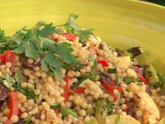 Cooking Channel serves up this Toasted Israeli Couscous with Vegetables and Lemon-Balsamic Vinaigrette recipe from Bobby Flay plus many other recipes at CookingChannelTV.com