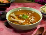 Daikon Soup with Shiitake Cigars and Steamed Sweet Potatoes with Green Onion Vinaigrette