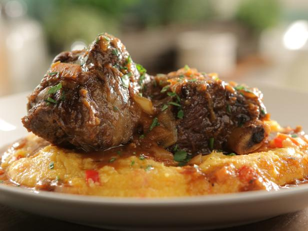 Hearty Beef Short Ribs with Creamy Red Pepper Polenta