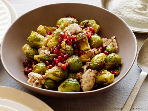 Roasted Brussels Sprouts with Pomegranates and Vanilla-Pecan Butter
