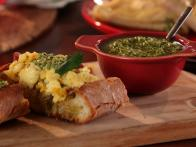 Calabrian Scrambled Eggs with Jalapeno Pesto Bruschetta