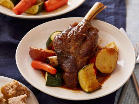 Braised Lamb Shanks with Roasted Vegetables and Buckwheat (Kasha) Bread