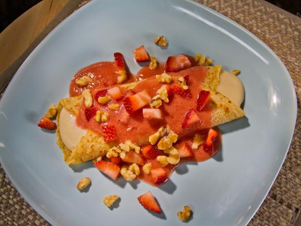 Sweet Dessert Crepes with Strawberry Tomato Sauce