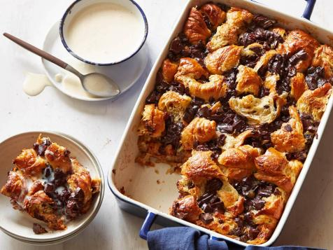 Chocolate Croissant Bread Pudding with Bourbon Ice Cream Sauce