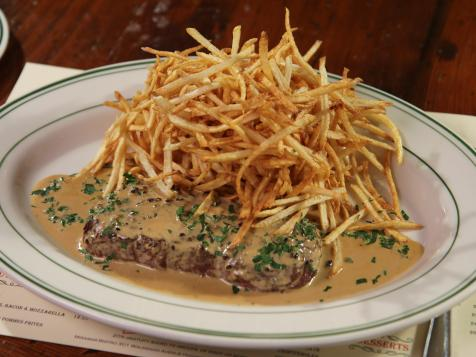 Steak Frites with Black Peppercorn Sauce