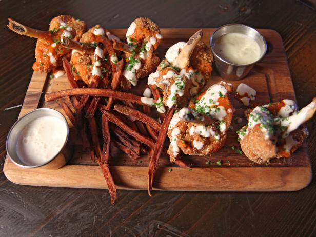 Buffalo Chicken Lollipop Wings with Buttermilk Blue Cheese Dip