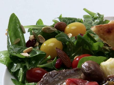 Wilted Arugula-Spinach Salad with Apple Dressing