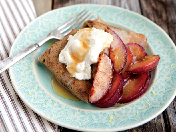 Buckwheat Crepes with Honeyed Ricotta and Sauteed Plums