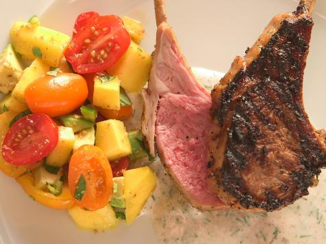 Coconut-Marinated Lamb Chops with Yogurt Sauce and Mango and Avocado Salsa