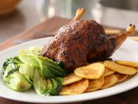 Whole Roast Duck with Braised Lettuce and Potato Pancakes