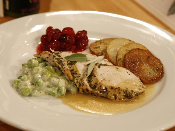 Herbed Turkey Breast in Gravy with Creamed English Peas and Cranberry Compote