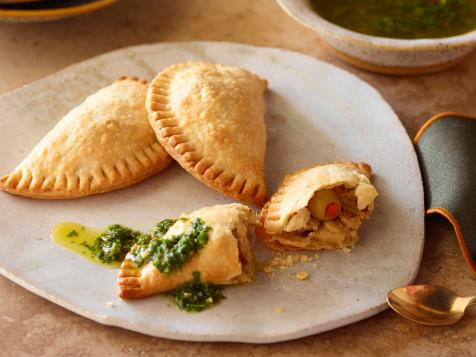 Chicken and Olive Empanadas with Chimichurri Sauce