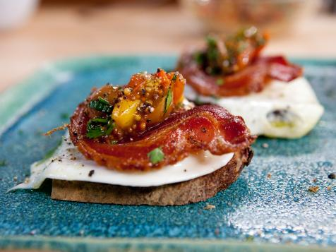 Olive Oil Poached Eggs on Toasted Sourdough with Crisp Pancetta and Tomato-Mustard Seed Relish