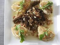 Pan-Roasted Breast of Chicken with Morels and Arugula