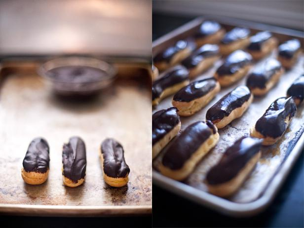 Eclairs with White Chocolate Pastry Cream and Dark Chocolate Ganache